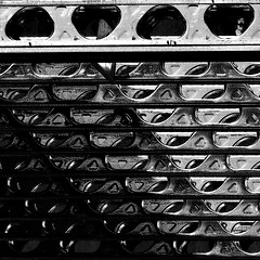 Girder Grid (boodoo) Tags: zoomnikkor80200mm45 mf manualfocus rollei 400 ir bw mono construction brooklyn street girder steel abstract squarecrop bedstuy rawtherapee haldclut