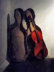 The Forgotten Cello (Steve Taylor (Photography)) Tags: cello musicalinstrument string case antique forgotten abandoned black brown white wooden uk gb england greatbritain unitedkingdom london shadow