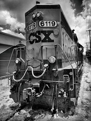 CSX 6119 Front and Rear (Burnt Umber) Tags: rpilla001 phoneography fauxtography silverefex black white weiss negra negro machine magnet demolition train yard recovery hydrolic industrial clous sky florida fort lauderdale bad ass ©allrightsreserved flurbex urbex blanco noir schwarz weis boxcar railcar rail trump graffiti tag tagged csx locomotive diesel electric gp402