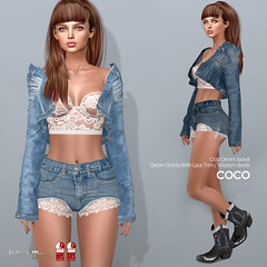 New Release @Uber June 25 (cocoro Lemon) Tags: coco newrelease uber denim jacket shorts lace western cowboy boots maitreya slink belleza secondlife fashion