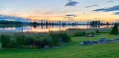 25 of 52:  Big Sky Sunset Pano-1 (SoCal Mark) Tags: bigfork montana mt river lake flathead summer 2019 photo challenge project 52 25 weeks big sky pano sun set sunset water mark alders