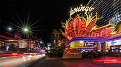 Flamingo on the Vegas Strip (Mark Chandler Photography) Tags: bellagio lasvegas nv nevada night boulevard color colour fountain fountains hotel longexposure neon nightlights photo photograhy show silhouette stock street strip flamingo vegas lights lightstream