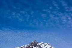Mountain Peak and Mackerel Clouds (ellieupson) Tags: canada alberta banff nationalpark peak mountain clouds blue snow rocks