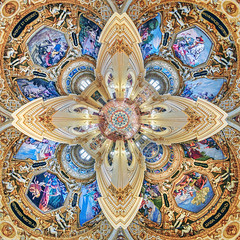 Wormhole to God: heaven's side (Pietro Faccioli) Tags: reggio emilia italy basilica ghiara church interior architecture ancient baroque marble limestone floor ceiling painting religious decoration arch vault dome fresco column space cross altar bench plaster