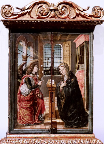 IMG_4201 Vincenzo Civerchio actif à Crema 1470-1544 environ The Annunciation  1495 Bergamo Accademia Carrara
