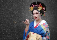 Oiran cosplayer at ExCeL London's MCM Comic Con, May 2019 (Gordon.A) Tags: london docklands excel excellondonexhibitioncentre mcm moviecomicmedia comic con convention mcm2019 may 2019 festival event creative costume design style lifestyle culture subculture japanese oiran character cosplay cosplayer pretty lady woman people face model pose posed posing outdoor outdoors outside wall naturallight colour colours color colors amateur portrait portraiture photography digital canon eos 750d sigma sigma50100mmf18dc