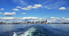 Leaving Seattle (rve13) Tags: sound pugetsound elliotbay seattle spaceneedle wake galaxys9