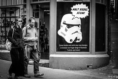 Halt Rebel Scum! (Cycling-Road-Hog) Tags: blackwhite candid canoneos750d citylife cockburnstreet colour efs55250mmf456isstm edinburgh edinburghstreetphotography monochrome people places scotland street streetphotography streetportrait urban