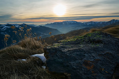 Mountains at sunset (Mattia Ferraboli) Tags: manualfocus nature naturallight availablelight italy sony sony7rii sonyalpha7rii sonyilce7rm2 sonyalpha 7rmii 7rm2 7rii ilce7rm2 ilce sony16354 sony163540 sony1635f40 sony1635mmf40 sony1635mmf4 sonyfe1635mmf4zaoss sonyfe1635mm variotessar 1635mm 1635 f4 f40 fe za oss peak peaks mountain mountains sunset goldenhour golden sun dim grass moss rock rocks flower flowers mountainflowers haze fog mist foggy misty snow cold lombardia brescia maniva horizon trekking outdoor landscape landscapephotography wide wideangle focusstacking stacking f13 f130 mossy dof deepoffield down shadows shadow calm alone