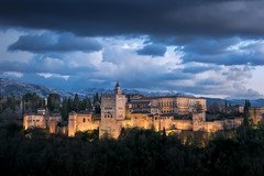 Alhambra (TheFella) Tags: travelphotography andalusia city photoshop mountainrange andalucía spanish sierranevada viveandalucia fortress thefellaphotography postprocessing landscapephotography twilight conormacneill thefella worldheritagesite nikon d810 lightroom peaks mountains alhambra dusk architecture landscape islam islamic cloudy theredone andalucia sky cityscape processing bluehour renaissance clouds christian unesco muslim granada palace travel tower european الْحَمْرَاء adobe nikond810 alḥamrā europe spain mountain