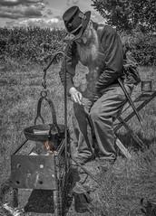 Campfire's Burning (sho5572) Tags: portrait blackandwhite americancivilwar unionsoldier campfire historicalreenactment outdoors june nikon flickr