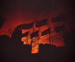 Explore Detroit - w/ Lomography Redscale (IV2K) Tags: detroit michigan detroitmichigan lomography redscale lomographyredscale mamiya mamiya7 mamiya7ii mediumformat film ishootfilm istillshootfilm flag americanflag usa