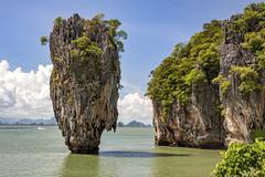 DANW2453 (Dan Wilson Photographer) Tags: bond island thailand rock trees boat water clouds sky james jamesbond jamesbondisland ngc