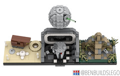 "Lego Star Wars - ""A New Hope"" Skyline MOC (3) (BenBuildsLego) Tags: lego legos star wars new hope episode iv luke skywalker darth vader death cool afol micro microscale architecture skyline benbuildslego millennium falcon yavin sandcrawler tatooine han solo brick bricks studio 3d render"