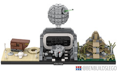 "Lego Star Wars - ""A New Hope"" Skyline MOC (4) (BenBuildsLego) Tags: lego legos star wars new hope episode iv luke skywalker darth vader death cool afol micro microscale architecture skyline benbuildslego millennium falcon yavin sandcrawler tatooine han solo brick bricks studio 3d render"