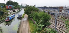 The Grand Union & The Great Western (standhisround) Tags: canal london railways gwr grandunioncanal narrowboat boats railway waterways towpath shrubs bushes transport train track canalbarge barge water building depot greatwesternrailway paddingtonbranch