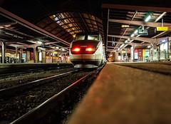 TGV Réseau Carmillon at Strasbourg by night (ekainmunduate) Tags: tgv strasbourg france high speed train night long exposure