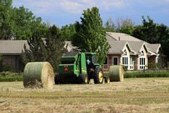 Backyard Hay (Let Ideas Compete) Tags: hay haybales farm farming agriculture neighborhood tractor johndeere