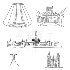 Rio de Janeiro famous architecture drawings (Hebstreits) Tags: america architecture art background black brazil brazilian building buildings business candeláriachurch christ city cityscape corcovado de design drawing drawn engraved famous hand icon ilhafiscal illustration janeiro jesus landmark landscape latin line outline panorama park parquelage redeemer rio silhouette sketch skyline south statue symbol tourism tower travel vacation vector view vintage