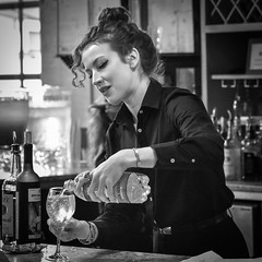 Spritzer (tim.perdue) Tags: steam plant wedding reception dayton ohio arts oregon district historic urban city nikon d5600 nikkor 1680mm downtown street woman girl person figure candid bartender server wine spritzer pour bottle glass black white bw monochrome blackandwhite mono iphone instagram