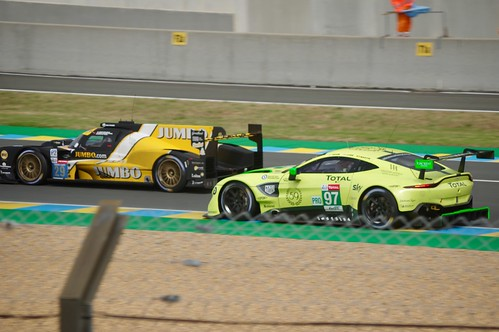Aston Martin Racing's Aston Martin Vantage AMR being passed by Racing Team Nederland's Dallara P217 Gibson