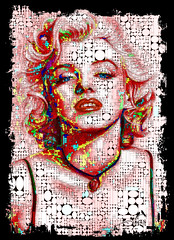 Glamour, Marilyn Monroe (SØS'Art) Tags: color colorful digitalart digitalartwork art kunstnerisk manipulation solveigøsterøschrøder artistic eyes photocollage photomanipulation marilynmonroe actor 100views