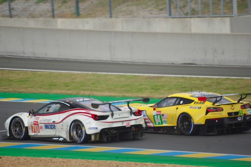 Corvette Racing's Chevrolet Corvette C7R overtaking MR Racing's Ferrari 488 GTE