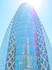 """Cocoon"" in summer blue (peaceblaster9) Tags: building architecture tower summerblue blue shinjuku tokyo ビル 建物 建築 タワー サマーブルー ブルー 青 東京 新宿 lightroom"