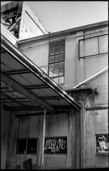 industrial architecture, urban decay, Asheville Waste Paper Co., Asheville, NC, Voigtlander Vitomatic II, Eastman Double X 200, HC-110 developer, 6.23.19 (steve aimone) Tags: industrialarchitecture urbandecay ashevillewastepapercompany asheville northcarolina voigtlander voigtlandervitomaticii vitomatic eastmandoublex200 hc110developer 35mm 35mmfilm film monochrome monochromatic blackandwhite