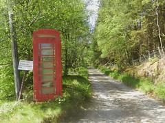 Red Telephone Box, Achnashellach, Highlands of Scotland, May 2019 (allanmaciver) Tags: achnashellach red telephone box sorry state trees highlands scotland sad allanmaciver