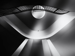 ...throughtimeandspace... (*ines_maria) Tags: munich münchen architectural design architecture art building ceiling geometric handrail high indoors light low angle shot modern perspective railing staircase stairs steel step structure technology urban panasonicdcgh5 dcgh5 bw blancetnoire monochrome