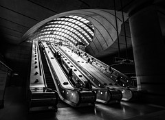 Canary Wharf B&W (Wits End Photography) Tags: tourism uk tatemodern traveling underground london travel street streetphotography tube nightphotography tourist people europe places england drive pavement road roadway route