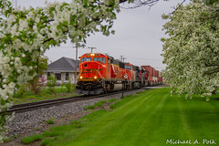 BNSF 9728 @ Valparaiso, IN (Michael Polk) Tags: canadian national emd valparaiso indiana grand trunk western gtw depot station bnsf sd70mac tree flower 9728