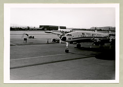 """Lockheed 1049G Constellation (Vintage Cars & People) Tags: vintage classic black white """"blackwhite"""" sw photo foto photography airtravel aviation sixties airport douglas swissairlines swissair 1950s 50s fifties zürichkloten kloten shadow lockheed 1049g constellation connie twa transworldairlines crew groundcrew"""
