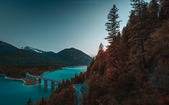 The bridge.... (agialopoulos) Tags: mountain mountains landscape landschaft lake water sunrise sunset sundown summer bavaria germany color forest trees travel