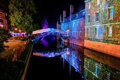 Cambridge May Ball: Queens' (Sir Cam @camdiary) Tags: cambridge camdiary cambridgeuniversity mayball 2019 night lightprojection queenscollege rivercam mathematicalbridge bridge