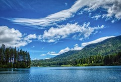 Clear Lake (Jerry Nelson Photography) Tags: sky clouds mountains trees forest lake water hdr landscape scenic