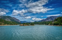 Twin Peaks (Jerry Nelson Photography) Tags: sky clouds mountains lake water trees forest islandhdr landscape scenic