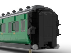 WIP 05 - End close up lamp bracket side. (Redimus84) Tags: maunsell southern railway wip lego lnur coach