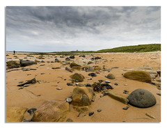 A weekend in Northumberland. (johnhjic) Tags: johnhjic 21mm rock rocks sand sea seaweed shore photographer people bamburgh castle northumberland uk sky dark grass green brown gray