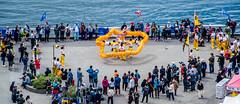 2019 - Vancoiuver - Dragon Boat Festival - 2 of 2 (Ted's photos - For Me & You) Tags: 2019 bc britishcolumbia canada cropped nikon nikond750 nikonfx tedmcgrath tedsphotos vancouver vancouverbc vancouvercity vignetting wideangle widescreen falsecreek falsecreekeast eastfalsecreek peopleandpaths people pathsandpeople railing musicians entertainers flags