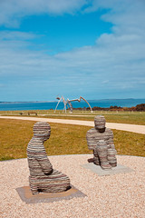 Of Stone (NatalieTracy) Tags: australia victoria morningtonpeninsula sculpturepark ptleo ptleoestate sculpture gardensculpture vineyard ocean sea sky garden park art artinstallation stone