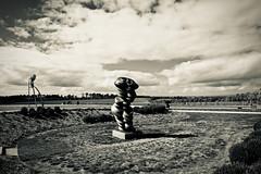 Curved Clouds (NatalieTracy) Tags: australia victoria morningtonpeninsula sculpturepark ptleo ptleoestate sculpture gardensculpture vineyard sky garden park art artinstallation blackandwhite bronze tonycragg