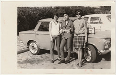Vintage Snapshot ca 1965 : Asian Trio with Fiat(?) (CHAIN12) Tags: vintage scan scanned photo trio teens teen fiat asian boy girl cool sunglasses kthyphts3ca1965asiantriowithfiat car 1965 sixties