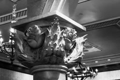 Rose Pillar (jenelle.melchior) Tags: rose architecture detail disney world disneyworld magic kingdom beauty beast be our guest black white monochrome pillar canon