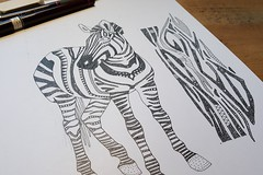 zebra and zebra skin WIP (Scrummy Things) Tags: wip workinprogress sharonturner scrummy zebra animal illustration zebraskin pen drawing spoonflower