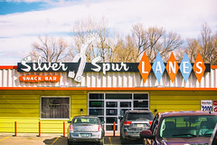 Silver Spur Lanes (Thomas Hawk) Tags: america silverspurlanes usa unitedstates unitedstatesofamerica wyoming bowling bowlingalley clouds neon neonsign lander