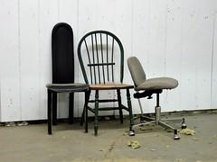 Trio (knightbefore_99) Tags: red barn flea market mercado terminal bc vancouver crap lame chair chaise trio empty sad three trash broken