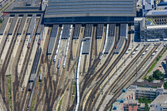 Munich Central Station (Aerial Photography) Tags: by m obb 24062007 5d021329 bahnhof bahnsteig bahnverkehr bavaria bayern blau braun deutschebahn eisenbahn farbe fotoklausleidorfwwwleidorfde fotoklausleidorfwwwleidorfaerialcom grau hauptbahnhof linien luftaufnahme luftbild munich münchen p2 reihen schienenverkehr verkehr weis zug aerial blue brown color colour grey lines mainstation outdoor platform railtraffic railroad railway railwaytraffic rows track traffic train trainstation white bayernbavaria deutschlandgermany