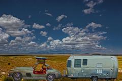 Glamping (oybay©) Tags: airstream merccedesbenz mercedes benz mercedesbenz gullwing car automobile camper desert arizona isolation expensive 300sl 1955